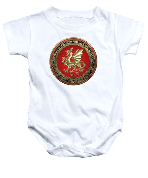 Gold Winged Norse Dragon - Icelandic Viking Landvaettir On Red And Gold Medallion Over White Leather Baby Onesie
