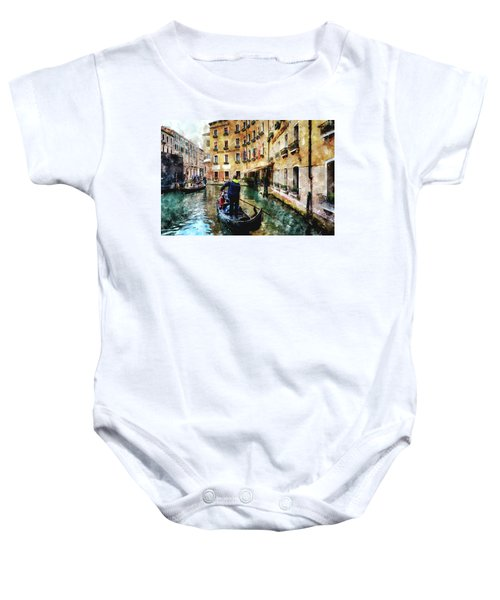Gondola Traffic Near Piazza San Marco In Venice, Italy - Watercolor Effect Baby Onesie