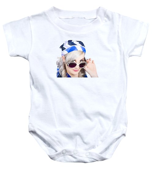 Graceful Pin Up Girl Looking Over Sunglasses Baby Onesie