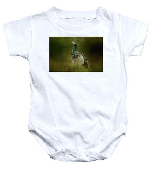 Green Gem In The Meadow  Baby Onesie