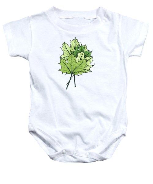 Green Maple Leaves On Vibrant Orange Baby Onesie