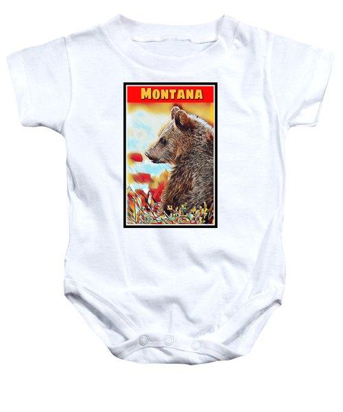 Grizzly Bear Art Montana Wildlife Travel Poster Baby Onesie