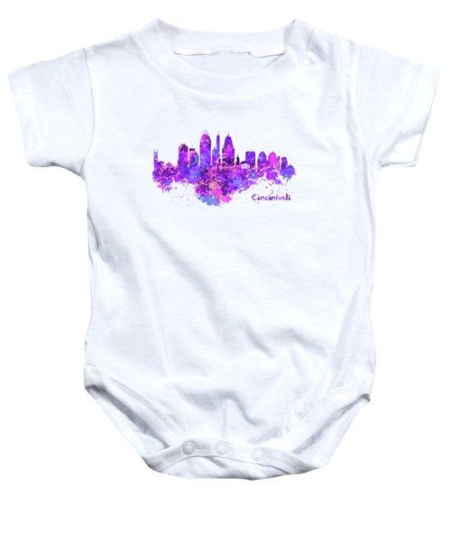 Horizontal Watercolor Skyline Of Cincinnati Baby Onesie