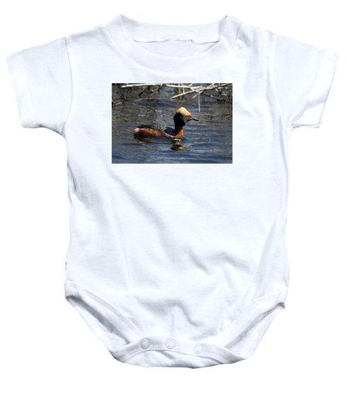 Horned Grebe 102713 Baby Onesie