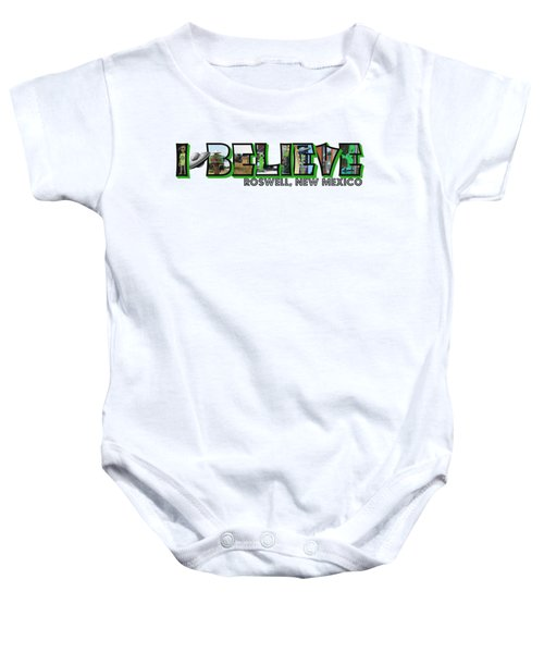 I Believe Roswell New Mexico Big Letter Baby Onesie