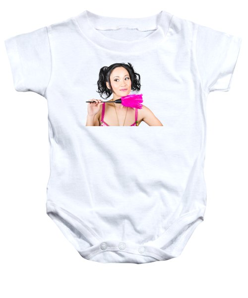 Isolated Hotel Maid Thinking With Feather Duster Baby Onesie
