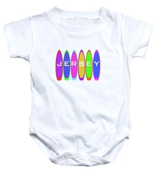 Jersey Text On Surfboards Baby Onesie
