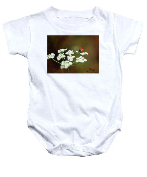 Ladybug In White Baby Onesie