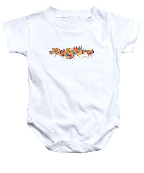 Las Vegas Watercolor Skyline Baby Onesie