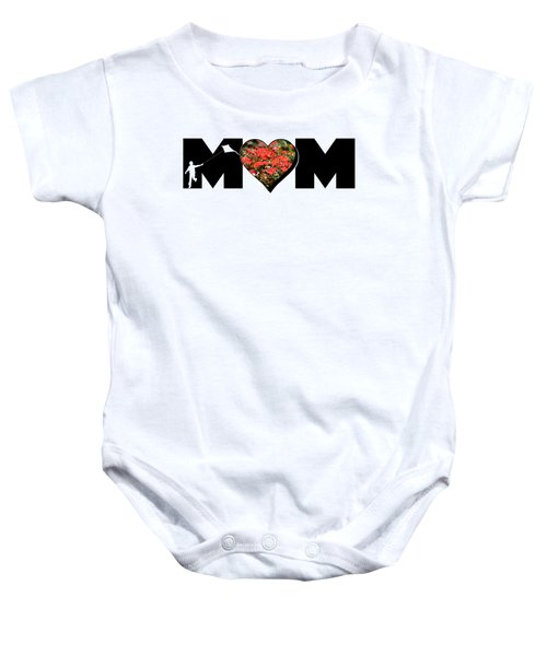 Little Boy Silhouette In Mom Big Letter With Cluster Of Red Roses In Heart Baby Onesie