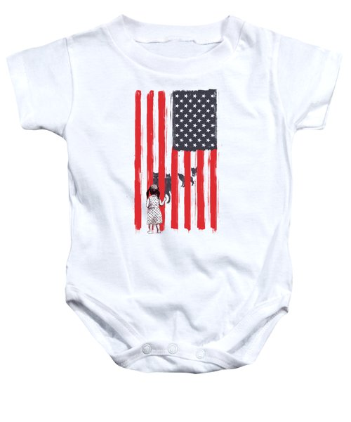 Little Girl And Wolves Baby Onesie