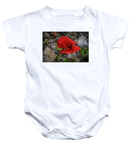 Lone Red Flower Baby Onesie