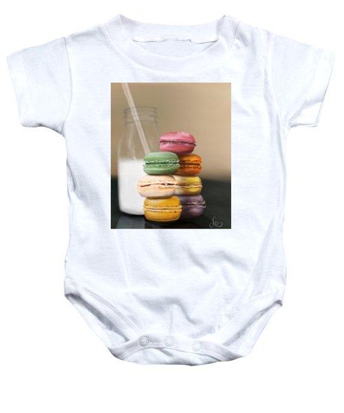Baby Onesie featuring the pastel Macaroons  by Fe Jones