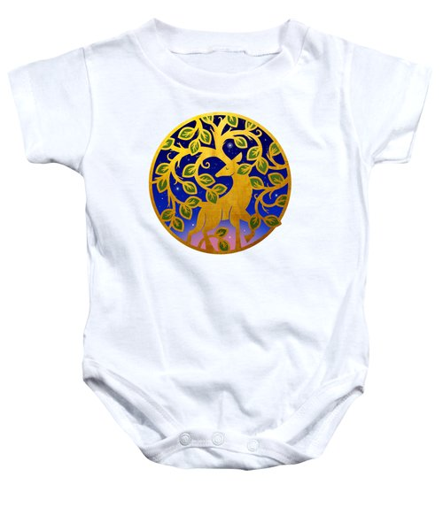 Magical Golden Stag Of The Forest At Dawn Baby Onesie
