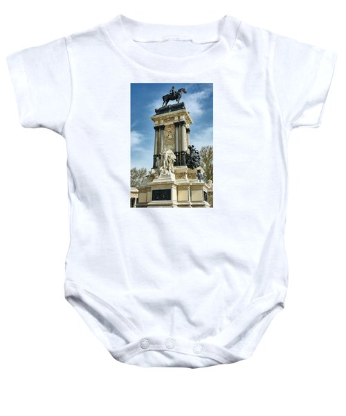 Monument To King Alfonso Xii At Retiro Park In Madrid, Spain Baby Onesie
