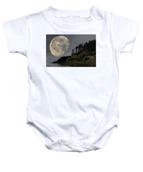 Moon And Beach Baby Onesie