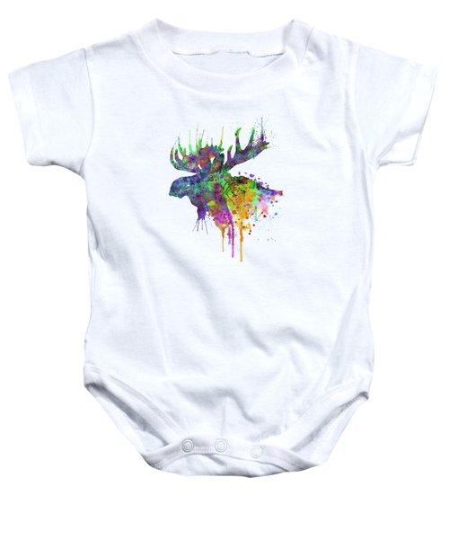 Moose Head Watercolor Silhouette Baby Onesie