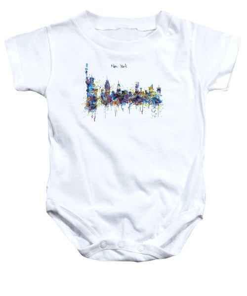 New York Watercolor Skyline Baby Onesie