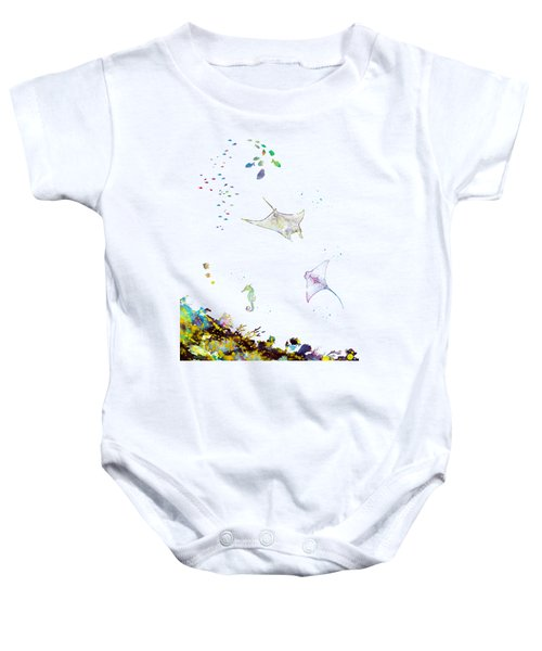 Ocean Bottom With Fishes Baby Onesie