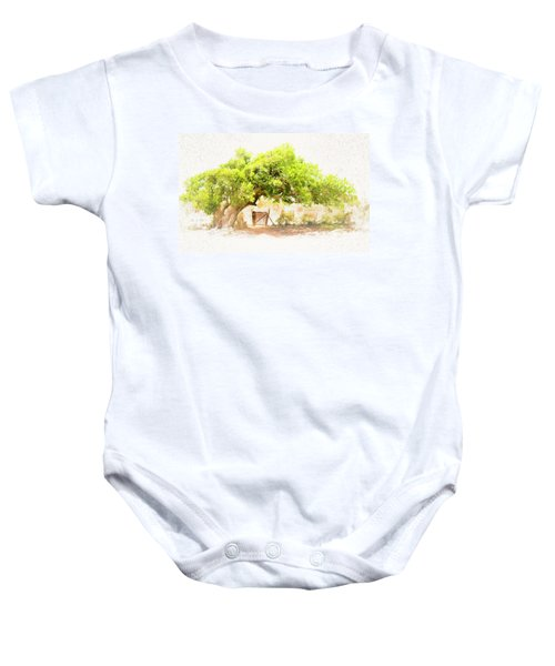 Old Leaning Tree At Sandy Hill  Anguilla Baby Onesie