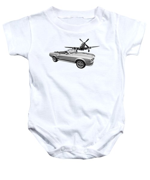 P51 Meets Eleanor In Black And White Baby Onesie