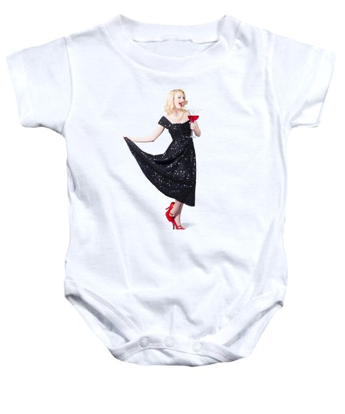 Party Woman In A Black Sequin Dress Baby Onesie