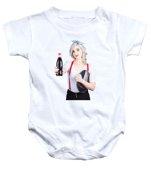 Pin-up Girl Holding Soft Drink Bottle Baby Onesie
