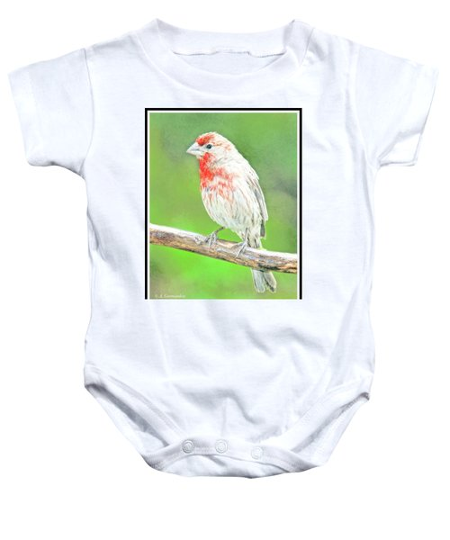 Purple Finch, Animal Portrait Baby Onesie