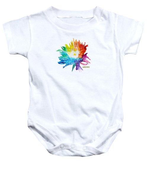 Rainbow Chrysanthemum Baby Onesie