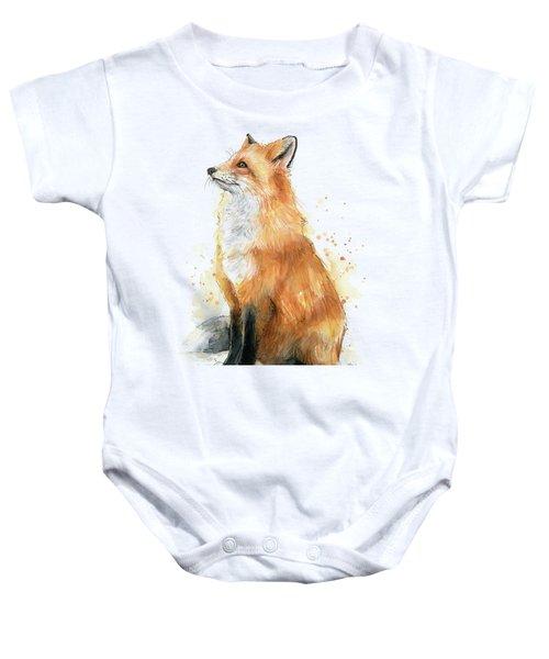 Red Fox Watercolor Pattern Baby Onesie
