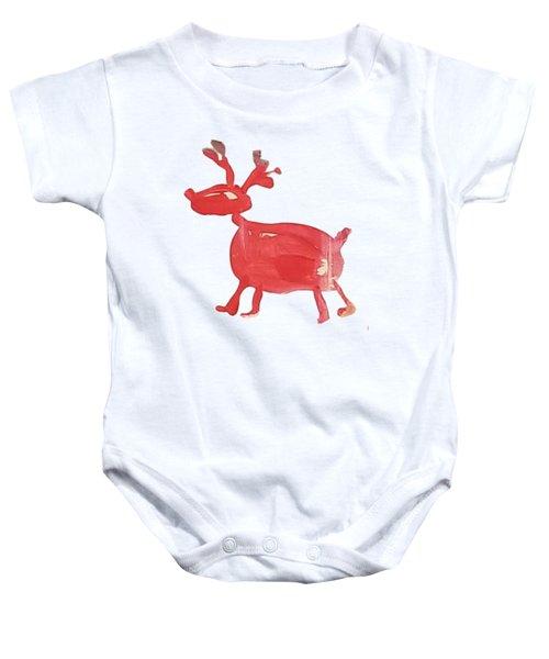 Red Reindeer Baby Onesie
