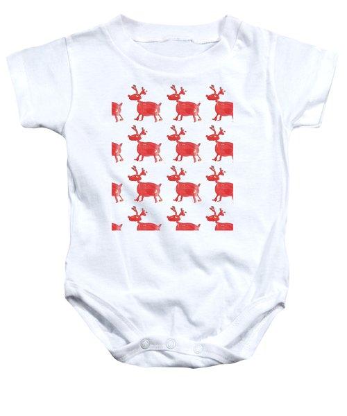 Red Reindeer Pattern Baby Onesie