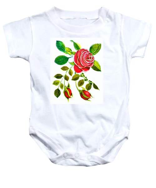 Red Rose Watercolor By Delynn Addams For Home Decor Baby Onesie
