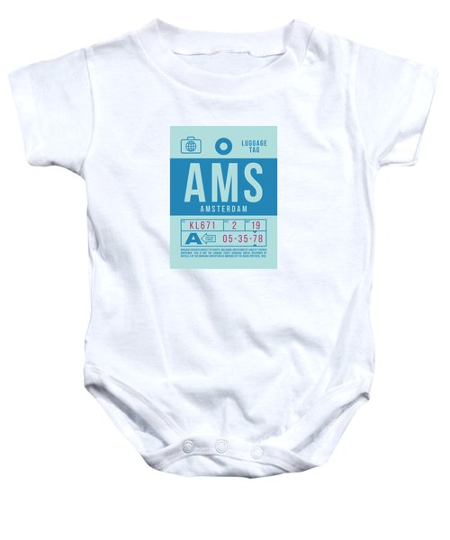 Retro Airline Luggage Tag 2.0 - Ams Amsterdam Netherlands Baby Onesie