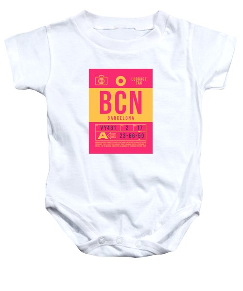 Retro Airline Luggage Tag 2.0 - Bcn Barcelona Spain Baby Onesie