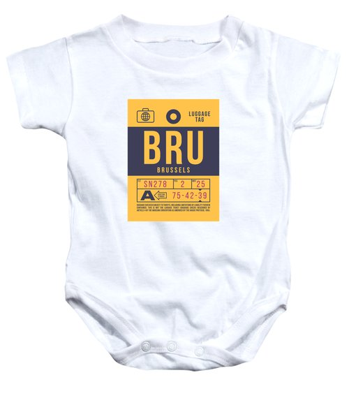 Retro Airline Luggage Tag 2.0 - Bru Brussels Belgium Baby Onesie