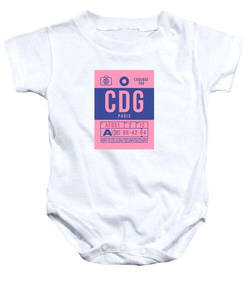 Retro Airline Luggage Tag 2.0 - Cdg Paris Charles De Gaulle France Baby Onesie