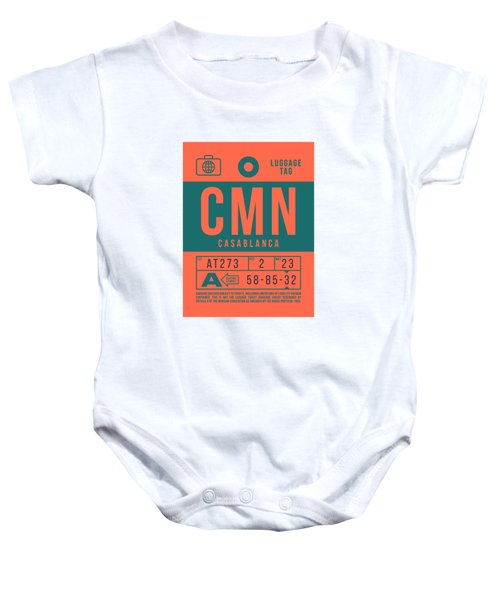 Retro Airline Luggage Tag 2.0 - Cmn Casablanca Morocco Baby Onesie