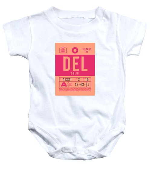 Retro Airline Luggage Tag 2.0 - Del Delhi India Baby Onesie