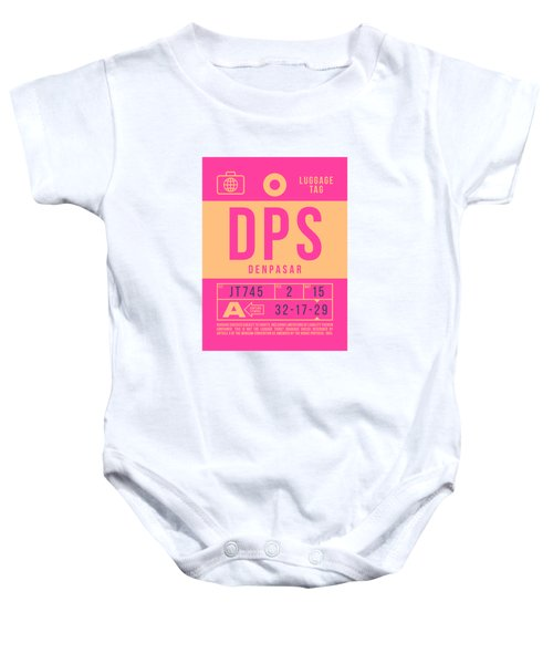 Retro Airline Luggage Tag 2.0 - Dps Denpasar Bali Indonesia Baby Onesie