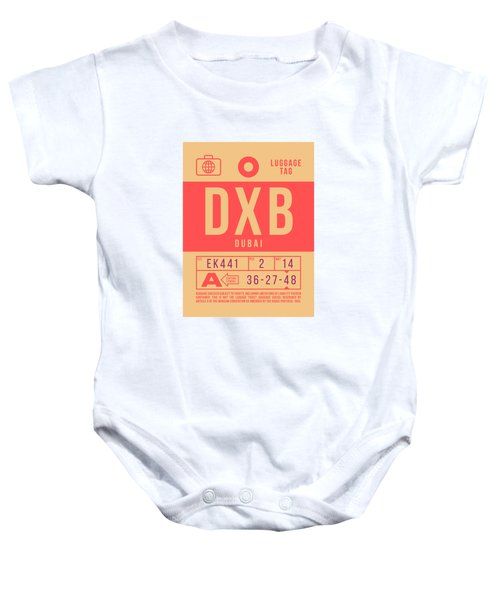Retro Airline Luggage Tag 2.0 - Dxb Dubai Uae Baby Onesie