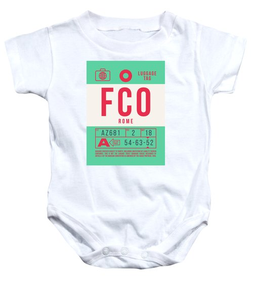 Retro Airline Luggage Tag 2.0 - Fco Rome Italy Baby Onesie