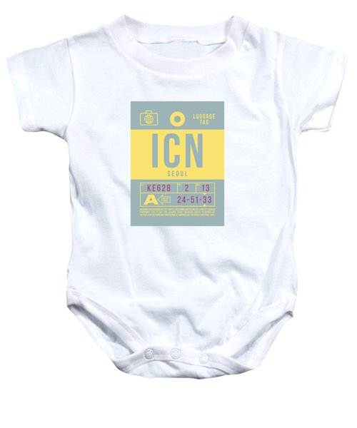 Retro Airline Luggage Tag 2.0 - Icn Seoul Korea Baby Onesie
