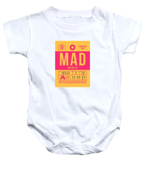 Retro Airline Luggage Tag 2.0 - Mad Madrid Barajas Airport Spain Baby Onesie
