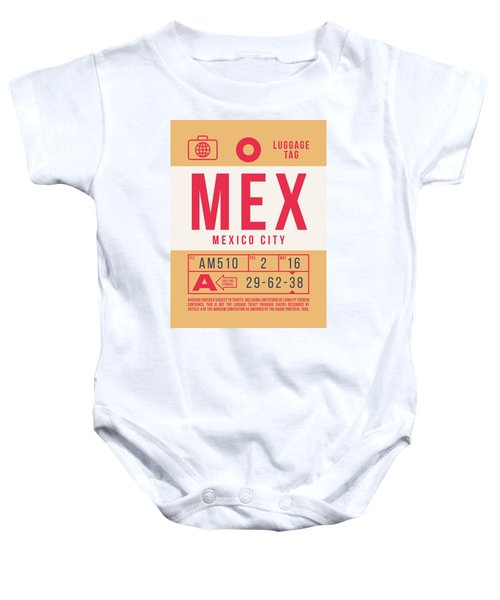 Retro Airline Luggage Tag 2.0 - Mex Mexico City International Airport Mexico Baby Onesie