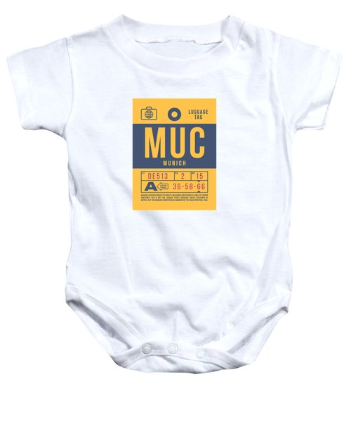 Retro Airline Luggage Tag 2.0 - Muc Munich International Airport Germany Baby Onesie