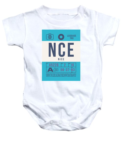 Retro Airline Luggage Tag 2.0 - Nce Nice Cote D'azur Airport France Baby Onesie