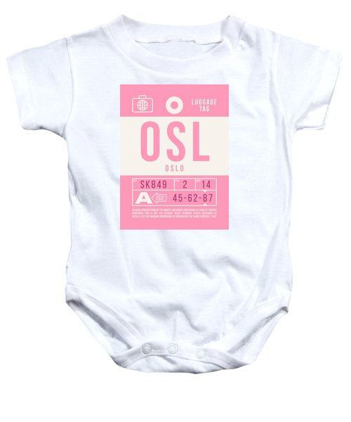Retro Airline Luggage Tag 2.0 - Osl Oslo Airport Norway Baby Onesie