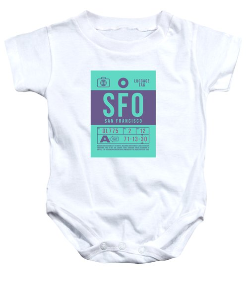 Retro Airline Luggage Tag 2.0 - Sfo San Francisco International Airport United States Baby Onesie