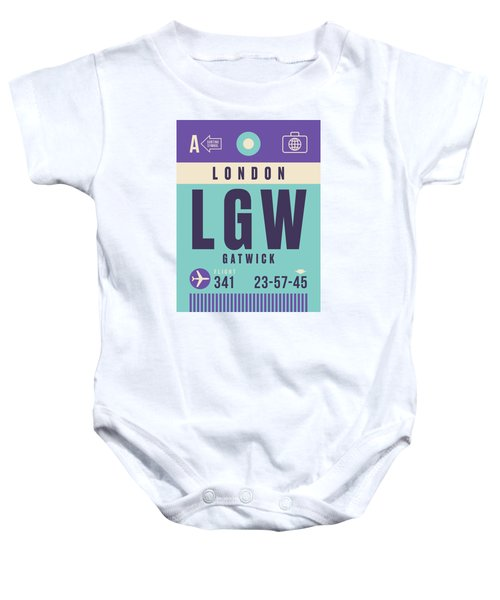Retro Airline Luggage Tag - Lgw London Gatwick Airport Baby Onesie
